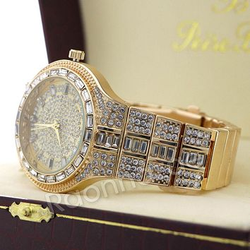 Iced Out Simulated Diamond Square Stone Gold Silver Plated Hip Hop Bling Watch 23