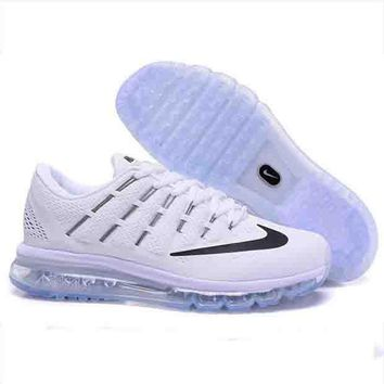 """NIKE"" Trending AirMax Toe Cap hook section knited Fashion Casual Sports Shoes Black blue zebra(black hook)transparent soles"