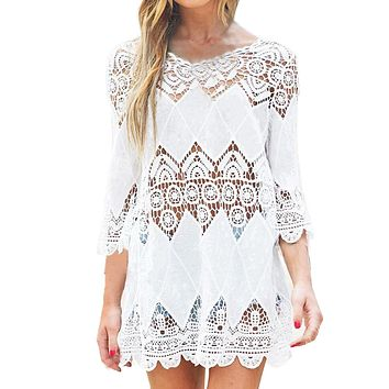White Lace Crochet Swimsuit Bathing Suit Cover Up