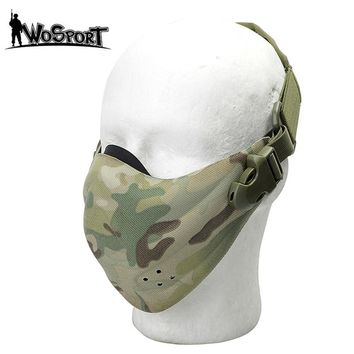 Tactical Half Face Mask Camouflage Protective Gear Adjustable Headband CS Army Combat Airsoft Paintball Multicam Mask Waterproof