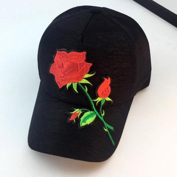 Baseball Cap Women   Applique Embroidery Snapback caps Women Hip Hop Flower Hats Women Bones Gorras Beisbol #23 SM6