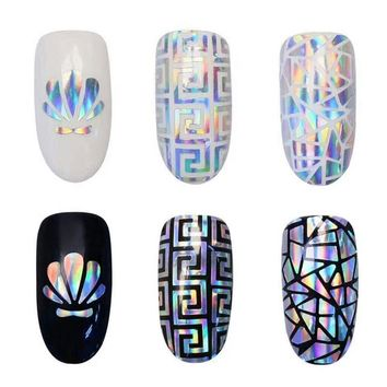New and Hot 5pcs 3D Symphony Adhesive shell glass stickers dual - use Korean candy hollow nail stickers Hollow nail Carved guide