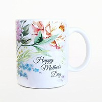 Happy Mother's Day Coffee Mug - Floral Tea Mug, Hydrangeas and Peony Print