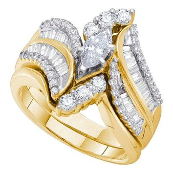 14kt Yellow Gold Women's Marquise Diamond Bridal Wedding Engagement Ring Band Set 1-1/2 Cttw - FREE Shipping (US/CAN)