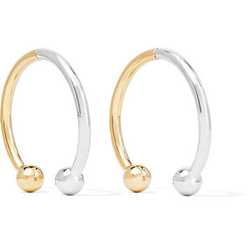 Eddie Borgo - Curved Barbell Hoop silver and gold-plated earrings