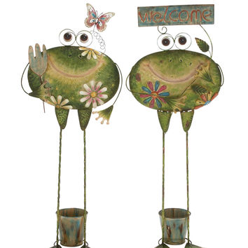 Creative Styled Standing Metal Frog Planter 2 Assorted