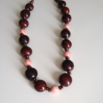 Long Brown & Pink Necklace - Wood Seeds Ceramic Necklace - Boho Hippy Necklace  - Long Summer Necklace - Statement Necklace