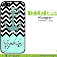 iPhone 5 case iPhone 5 cover iPhone 5 Monogram iPhone 5 Personalized iPhone 5 Black and White Chevron with Anchor ( Not An Actual Glitter)