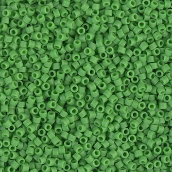 11/0 Delica Japanese Matte Opaque Pea Green Glass Beads
