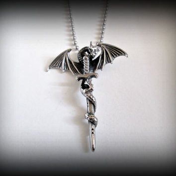 Dragon pendant with sword-game of thrones inspired pendant-gothic dragon pendant-stainless steel dragon necklace