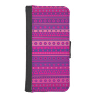 Purple and Pink Stripy Stars and Spots Pattern iPhone 5 Wallets
