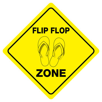"""FLIP FLOP ZONE Funny Novelty Crossing Sign 12""""x12"""""""