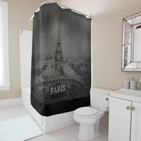 Vintage Black and White Paris and Eiffel Tower Shower Curtain