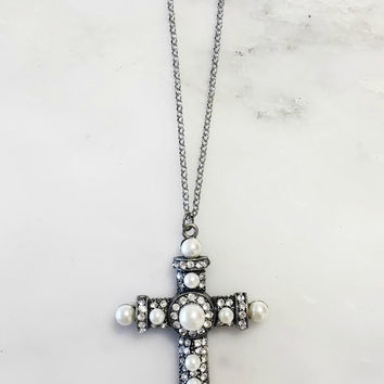 Antiqued Pearl Cross Necklace