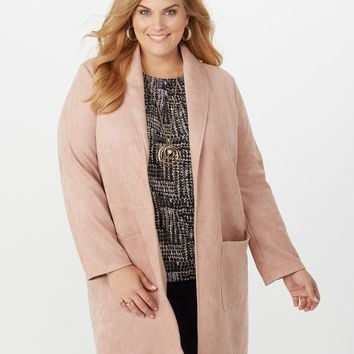 Plus Size Scuba Duster Jacket