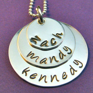 """Three-Layer Hand-stamped Name Necklace in Sterling Silver 1/2"""" 3/4"""" and 1""""  - great for moms or grandmas"""