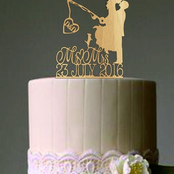 Custom Personalized Wedding Cake Topper, Hooked on Love 2 with personalized Initials + Mr & Mrs Cake topper, Rustic Wedding cake topper