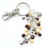 Beaded Keychain, Coffee Lover Gift, Purse Jewelry, Friendship Keychain