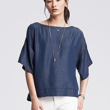 Banana Republic Womens Drapey Chambray Top
