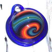 Lampwork Glass Pendant, Orange Blue Elemental, Large Turtle Shell Focal, by Taylor Kelly