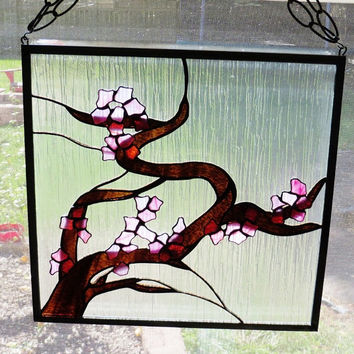 Stained Glass Window Panel Japanese Cherry Blossom Tree Interior Decorating Design Tranquility Asian Decor 3-D