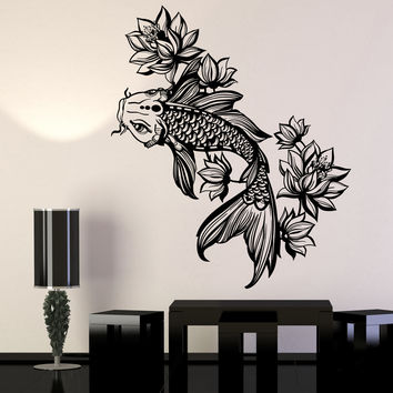 Vinyl Wall Decal Golden Fish Aquarium Lotus Flower Asian Style Stickers Unique Gift (1116ig)