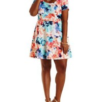 Plus Size Short Sleeve Floral Skater Dress