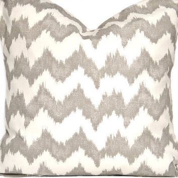WEEKLY SPECIAL 12.00 Gray Chevron ikat Pillow Cover Decorative Repurposed 18x18