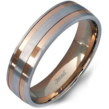 Simon G. 6mm White and Rose Gold Two-Tone Men's Wedding Ring