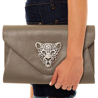 MKL Accessories Envelope Clutch Queen Tiger in Pewter