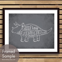 Triceratops, Dinosaur Butcher Diagram Series -8x10 Print (Featured in Charcoal) (Buy 3 and get One Free)