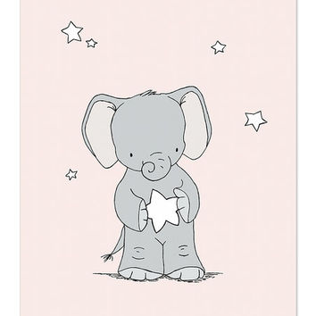 Elephant Holds Star Print
