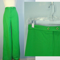 Vintage 70s Pants / Wide Leg Pants / High Waist Pants / Green Pants