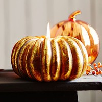 Gilt Gold Pumpkin Shaped Candle