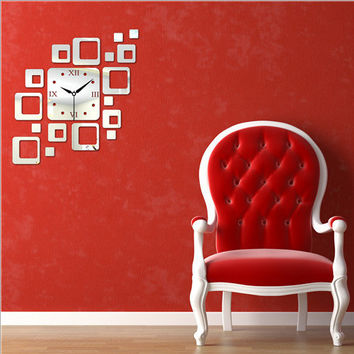 Strong Character Diy Creative Acrylic Home Decor Living Room Quiet Mirror Wall Sticker Clock [6057116289]