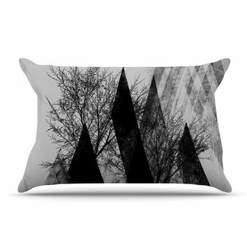 "Pia Schneider ""TREES V2"" Black White Gray Pillow Case"