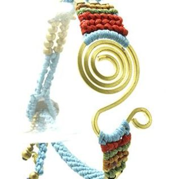 Spiraled Metal Braided Color Yarn Meatllic Bead Button Loop Closure Braclet