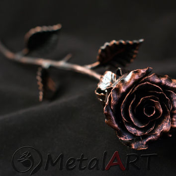 7th Anniversary gift - Metal Rose / Iron Rose - Metal Sculpture - Steel Rose - Forged Rose - Anniversary gift for Her