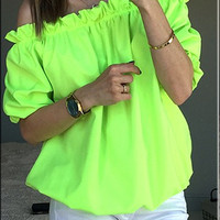 Off Shoulder Blank Tops with Ruffle Trim