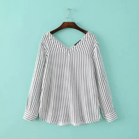 White Striped Print V-neck Long Sleeve Loose Blouse
