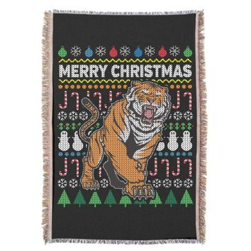 Tiger Ugly Christmas Sweater Wildlife Series Throw Blanket
