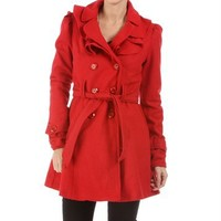 Red Ruffled Trench Coat