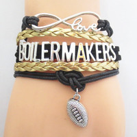 Infinity Love Purdue Boilermakers Football Wrap Bracelet