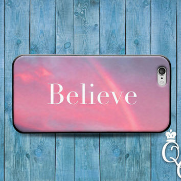 iPhone 4 4s 5 5s 5c 6 6s plus + iPod Touch 5th Generation Cover Cute Case Believe Quote Pink Gorgeous Motivational Cool Girly Pink Clouds