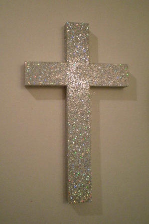 Silver Glitter Cross Sparkling Silver From Lauriebcreations