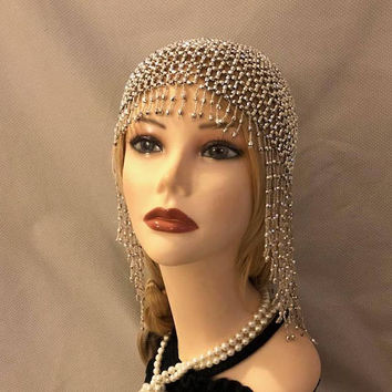 1920s style FULLY Beaded Silver Fringe FLAPPER Head cap skull headpiece Gatsby Roaring Twenties Art Deco Bead Tassel Headwear Headdress Wig