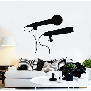 Vinyl Wall Decal Let's Sing Microphone Karaoke Singing Decor Music Art Stickers Mural (g379)