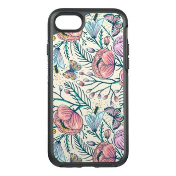 Girly Vintage Rose Garden Flower Pattern Elegant OtterBox Symmetry iPhone 7 Case