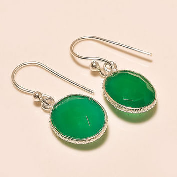925 Sterling Silver Green Onyx Handmade Earrings Fine Earrings Gemstone Earrings Silver Earrings