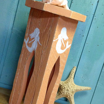 Side Table Plant Stand Seahorse Mermaid Moroccan Turkish Beach House Style by CastawaysHall
